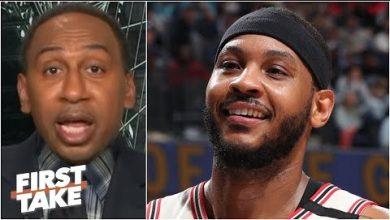 Photo of Stephen A. reacts to Carmelo saying he'd have '2 or 3 rings' if the Pistons drafted him   First Take